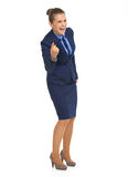 Happy business woman pointing in camera Royalty Free Stock Photos