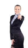 Happy business woman pointing at the camera - isolated over a wh Stock Photos