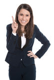 Happy business woman is pointing with forefinger isolated on whi Royalty Free Stock Photography