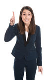 Happy business woman is pointing with forefinger isolated on whi Royalty Free Stock Photo