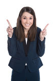 Happy business woman is pointing with forefinger isolated on white. Happy caucasian business woman is pointing with forefinger isolated on white royalty free stock images