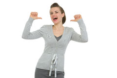 Happy business woman pointing on herself Stock Photos
