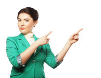 Happy business woman pointing an idea Royalty Free Stock Image