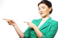 Happy business woman pointing an idea Stock Photography
