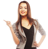 Happy business woman pointing an idea Stock Images