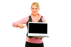 Happy business woman pointing on laptops Stock Photos