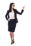 Happy business woman pointing at something isolated on white Royalty Free Stock Photos
