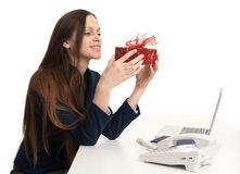 Happy business woman with present box Royalty Free Stock Photo
