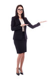 Happy business woman presenting something isolated on white Stock Photo