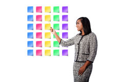 Happy business woman presenting sticky notes Royalty Free Stock Photos