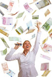 Happy business woman reaching for Royalty Free Stock Images