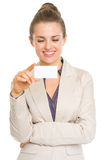 Happy business woman reading business card Royalty Free Stock Images