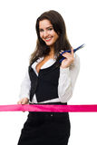 Happy business woman ready to cut red ribbon Royalty Free Stock Image