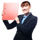Happy business woman with red folder Stock Image