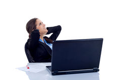 Happy business woman relax in office Stock Photos