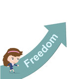 Happy business woman running on green arrow with word Freedom Stock Images