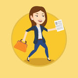 Happy business woman running vector illustration. Royalty Free Stock Photo
