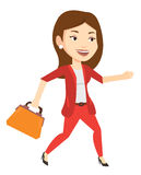Happy business woman running vector illustration. Royalty Free Stock Photos