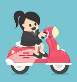 Happy Business woman with scooter Royalty Free Stock Image