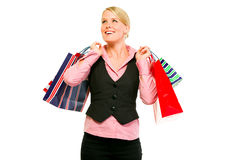 Happy business woman with shopping bags Royalty Free Stock Image