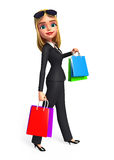 Happy Business Woman with shopping bags Royalty Free Stock Images