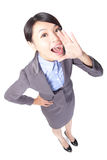 Happy business woman shout Stock Photography