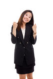 Happy business woman showing blow Royalty Free Stock Photo