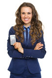 Happy business woman showing calculator Royalty Free Stock Images