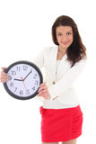 Happy business woman showing clock. Over white Royalty Free Stock Image