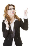 Happy business woman showing copy space Stock Photos