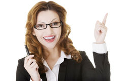 Happy business woman showing copy space Royalty Free Stock Images