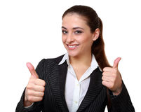 Happy business woman showing hands. Thumb up sign isolated on white Stock Image