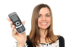 happy business woman showing her new phone Stock Image