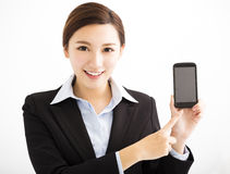 Happy Business Woman Showing mobile smart phone. Happy asian Business Woman Showing mobile smart phone Royalty Free Stock Photography