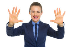 Happy business woman showing palms Stock Images