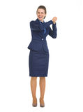 Happy business woman showing partnership gesture Royalty Free Stock Photos