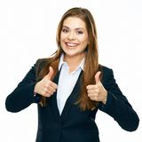 Happy business woman showing thumb isolated on white. Background Royalty Free Stock Images