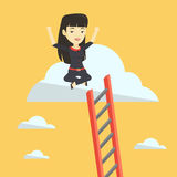 Happy business woman sitting on the cloud. Royalty Free Stock Photo