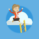 Happy business woman sitting on the cloud. Stock Image