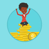 Happy business woman sitting on golden coins. stock illustration