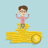 Happy business woman sitting on golden coins. Stock Image