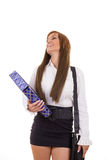 Happy business woman in skirt and shirt caring briefcase for tra Royalty Free Stock Images