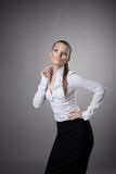 Happy business woman smile to you Royalty Free Stock Image