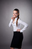 Happy business woman smile to you Royalty Free Stock Photos