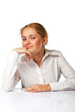A Happy business woman smiling. A Happy successful business woman smiling Royalty Free Stock Photos