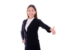 Happy business woman smiling and giving thumbs up on white backg Royalty Free Stock Photo