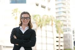 Happy business woman smiling with glasses Stock Image