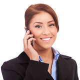 Happy business woman speaking on phone Royalty Free Stock Images