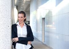Happy business woman standing outside Royalty Free Stock Photos