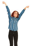 Happy business woman stretch hands Royalty Free Stock Photos
